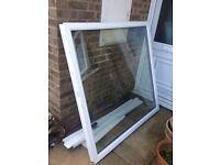 Upvc double glazed window with white 70 mm profile frame.