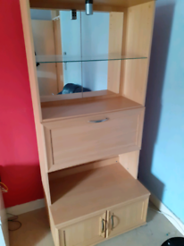 Storage unit wood and glass