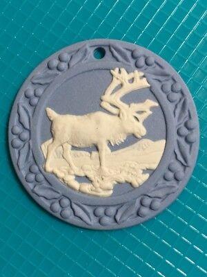 Wedgwood Blue Jasperware 1997 Reindeer Christmas Ornament & Sash for Hanging NIB