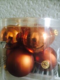 Cooper colored Christmas large baubles. Ex con