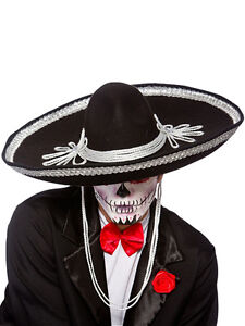 Sombrero Hat Black Mariachi Band Mexican Fancy Dress Accessory Day Of The Dead