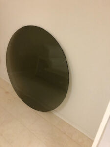 Round brown glass table top