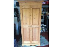 Solid antique pine wardrobe
