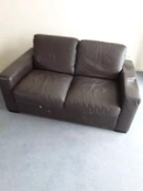 Sofa leather dark brown 2 seater