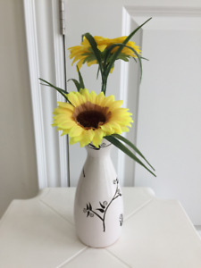 Artificial sunflowers with ceramic vase, $5 each