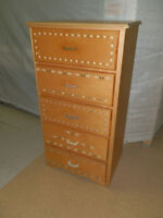 TALL 5 DRAWER WOOD DRESSER paint, shabby chic or use as is!