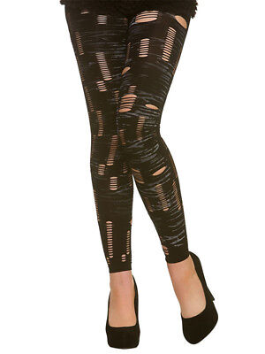 Adult Ripped Black Tights Halloween Horror Zombie Ladies Fancy Dress Accessory - Halloween Zombie Ripped Clothes