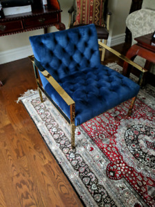 Blue Velour and Gold Chrome chair