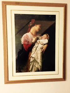 "beautiful golden wood framed painting Mom and baby the H 33""X26"""