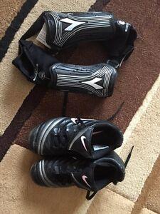 Youth Size 11 Nike Soccer Shoes & Shin Pads