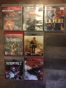 PS3 games for sale - Mortal Kombat, Infamous, God of War III etc