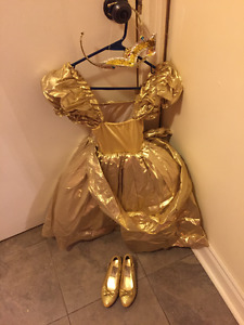 Gold princess dress and shoes