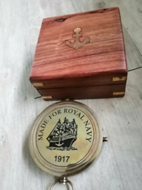 "Royal Navy 3""brass compass in nautical wood box FREE P&P"