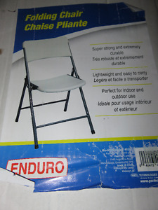 BRAND NEW IN BOX Four White Heavy Duty Folding Chairs