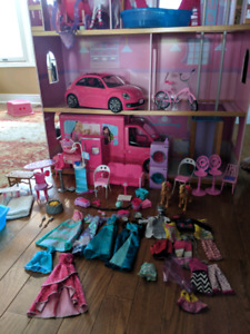 Barbie house, furniture, clothing, doll LOT