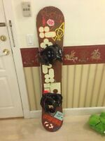 Snowboard, binding and boots