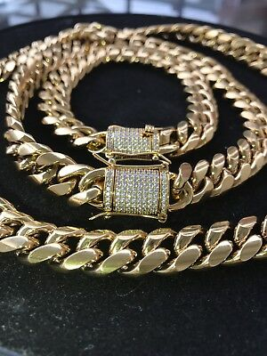 Men Cuban Miami Link Bracelet & Chain Set  18k Gold Plated 12mm *Diamond Clasp*