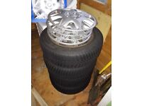"4 X ""Vredestein SnowTrac 3"" tyres on 16 inch steel rims with wheel trims 205/60 R16 96H M&S"