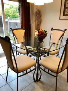 Dining Table, chairs with Matching Chandelier