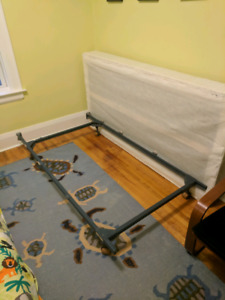 Adjustable bed frame and twin boxspring