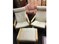 2 x leather loungers and matching footstool