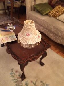 ANTIQUE LAMP SHADE IN PEARLS SIGNED AND HAND MADE