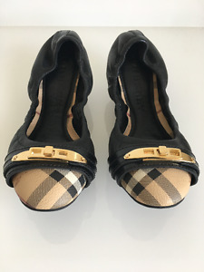 Burberry Horseferry Check Leather Ballerinas