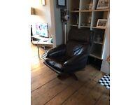 Scandinavian vintage brown leather chair