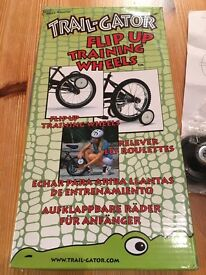 Trailgator flip up bike stabilisers , hardly used, complete with fixings