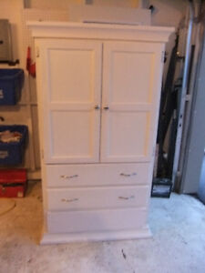 solid wood white 2 drawer and clothing wardrobe