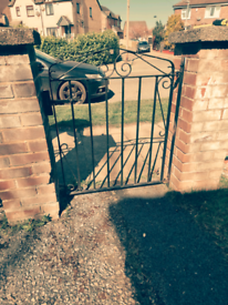 Steel driveway gates with matching gate