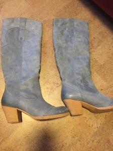 Blue Heeled Leather  boots