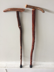 2- Red Birch with Deer antlers walking Canes