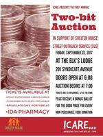 TWO BIT AUCTION IN SUPPORT OF SHELTER HOUSES' SOS PROGRAM