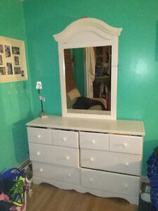 White twin  bed and dresser