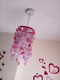 Pink Hanging butterfly ceiling light shade