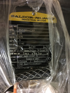 BALDOR INDUSTRIAL MOTOR 1/3HP 575V 1140RPM - NEVER USED