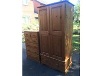 Solid pine wardrobe and chest of drawers with possible delivery