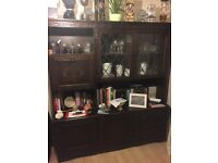Large dark wood effect cabinet