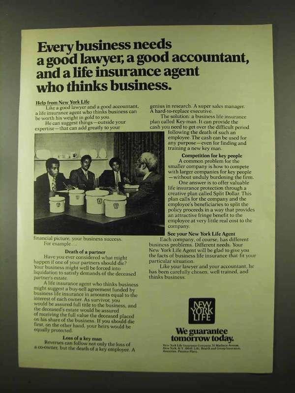 1973 New York Life Insurance Ad - Business Needs