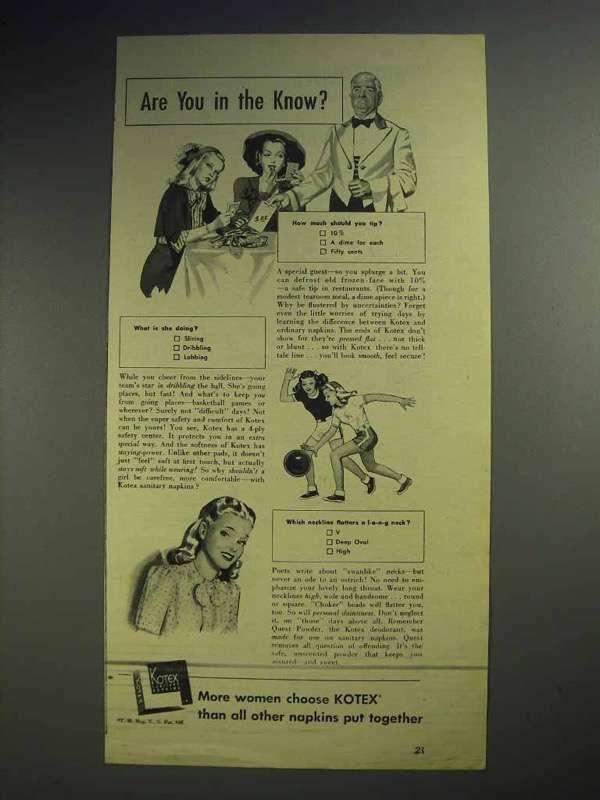 1944 Kotex Sanitary Napkins Ad