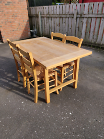 4 chair Pine retractable table with pine/rattan chairs