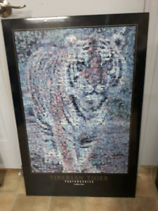 Siberian tiger photo mosaic hardboard poster
