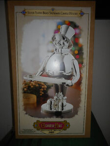 Silver Plated Brass Snowman Candle Holder
