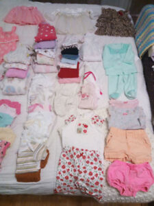 77 items of 0-3 month baby girl items