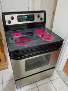 "Whirlpool stainless steel 30"" electric glass top range oven"