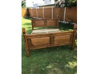 King size,Mexican pine bed frame, ( mattress if wanted)
