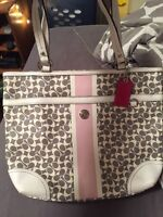 Authentic white grey pink coach purse
