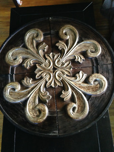 Wooden Shield with Embossed Fleur-De-Lis