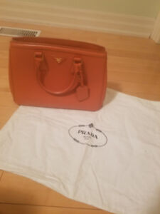 Prada Saffiano Leather Lux Leather Parabole Shopping Tote Bag